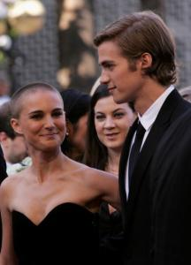 "CANNES, FRANCE - MAY 15: Actress Natalie Portman and actor Hayden Christensen attends a screening of "" Star War III ? Revenge of the Sith"" at the Grand Theatre during the 58th International Cannes Film Festival May 15, 2005 in Cannes, France.  (Photo by Mark Mainz/Getty Images)"